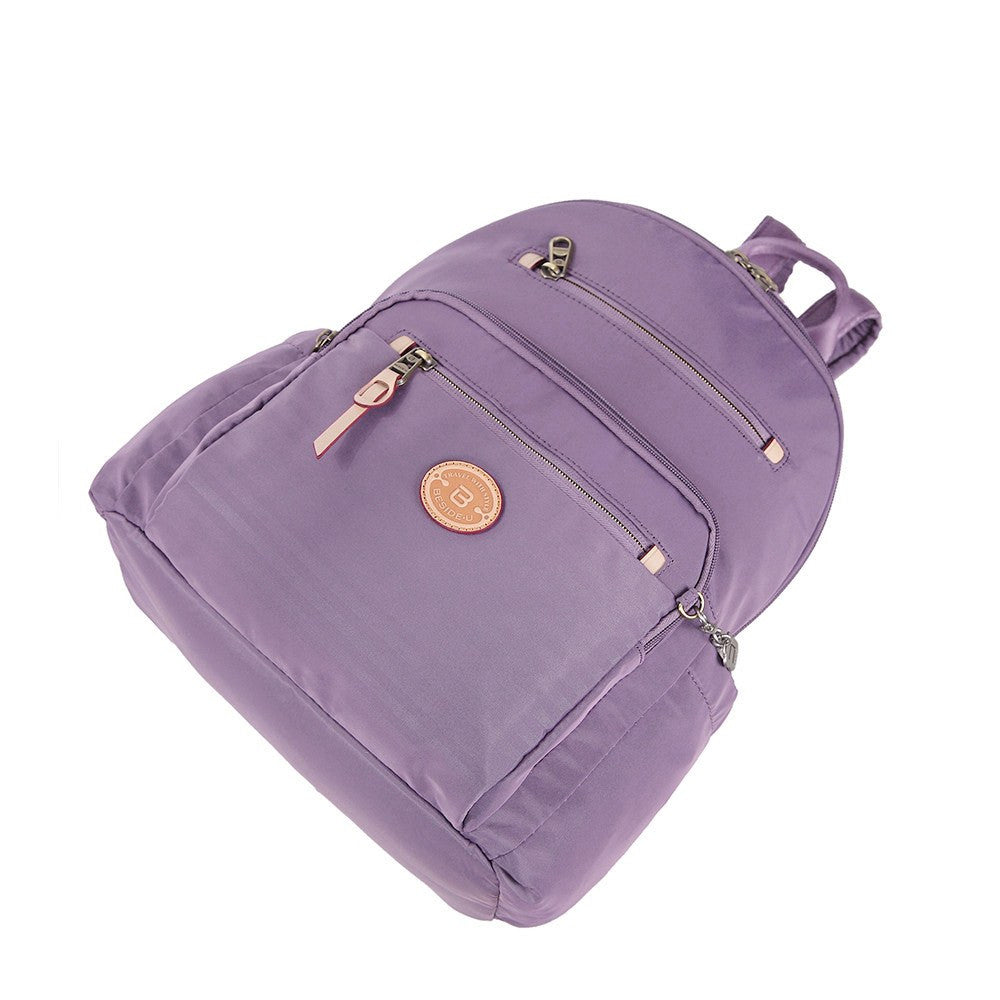 Backpack - Gosford Leather Trimmed Travel Backpack Lying Down [Grapeade Purple]