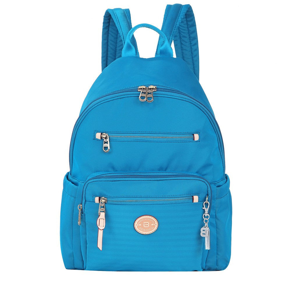 Backpack - Gosford Leather Trimmed Travel Backpack Front [Cowboy Blue]