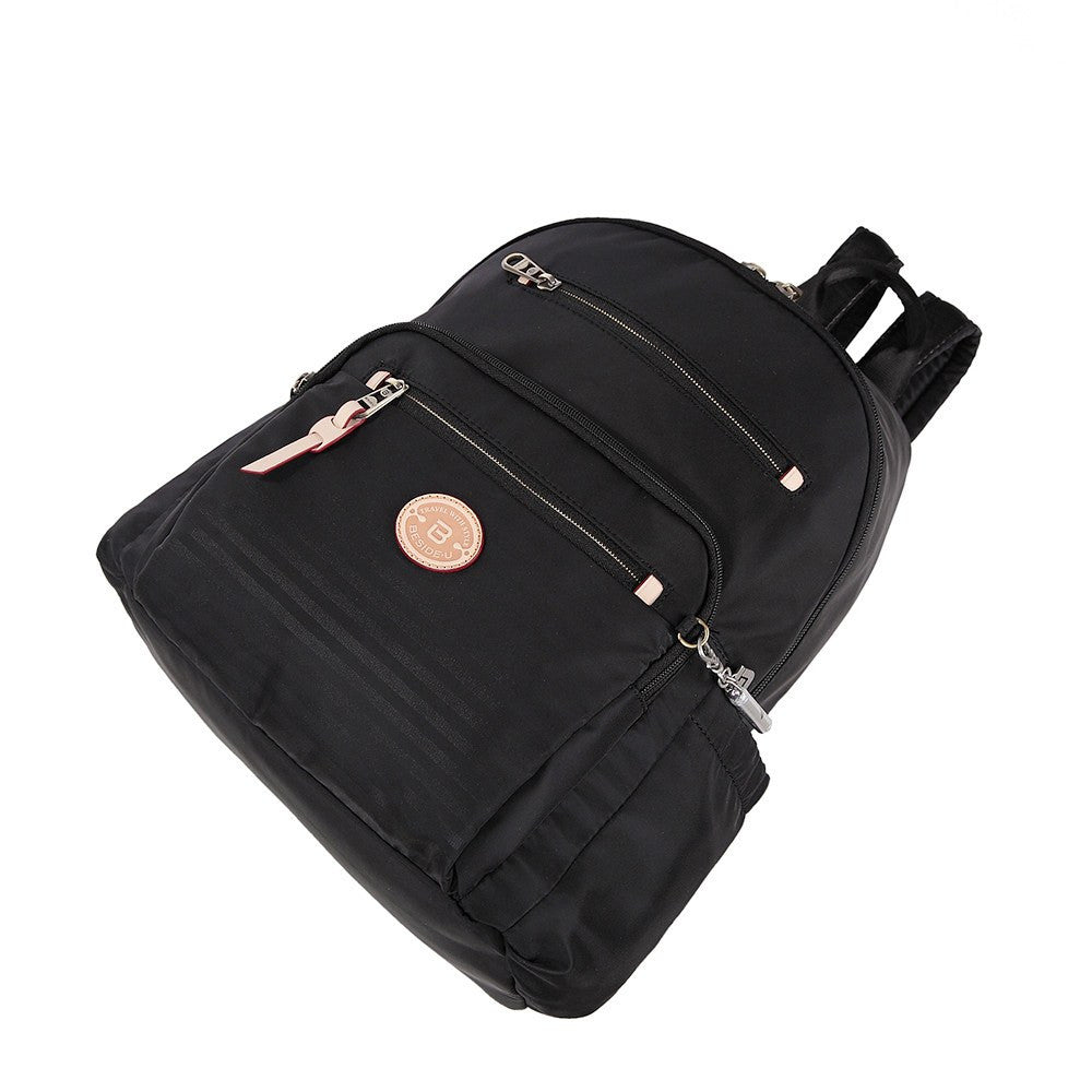 Backpack - Gosford Leather Trimmed Travel Backpack Lying Down [Black]