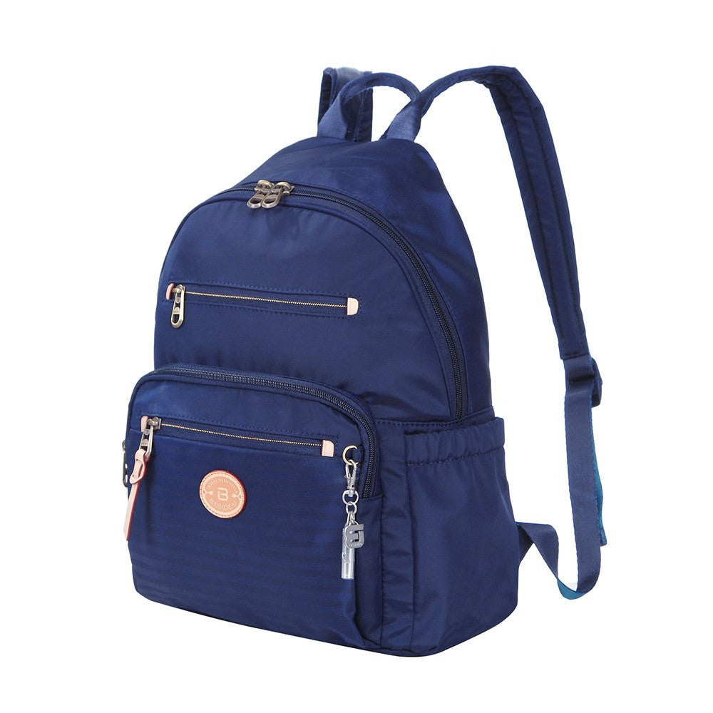 Backpack - Gosford Leather Trimmed Travel Backpack Angled [Evening Blue]