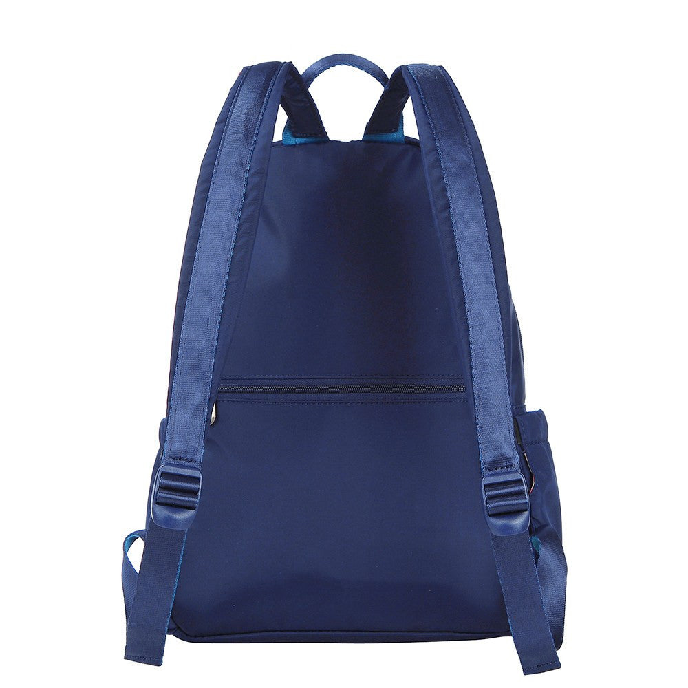 Backpack - Gosford Leather Trimmed Travel Backpack Back [Evening Blue]