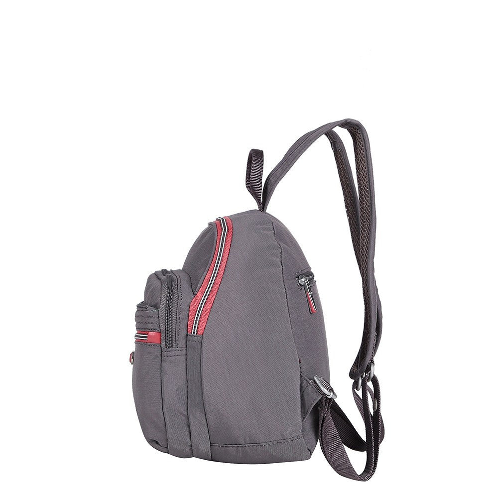 Backpack - Majorca Two-Tone Leisure Travel Backpack Side [Rabbit Grey]