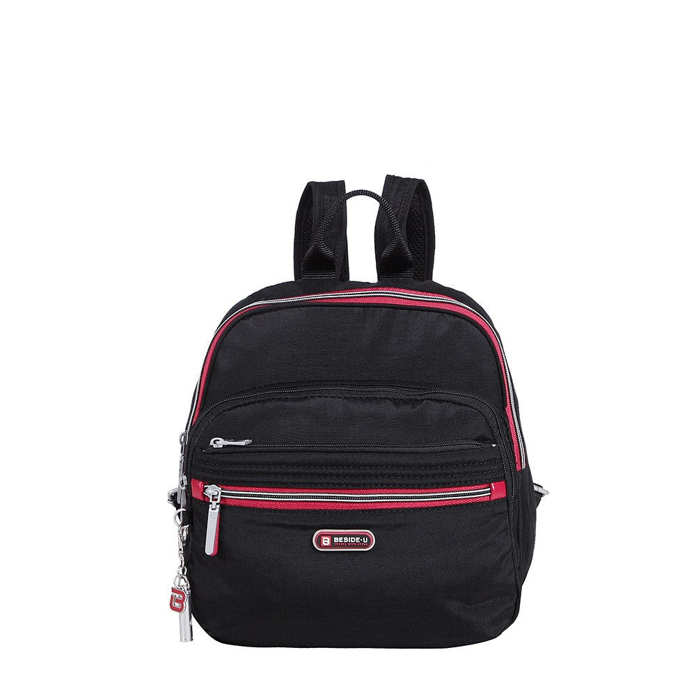 Backpack - Majorca Two-Tone Leisure Travel Backpack Front [Black And Dark Red]