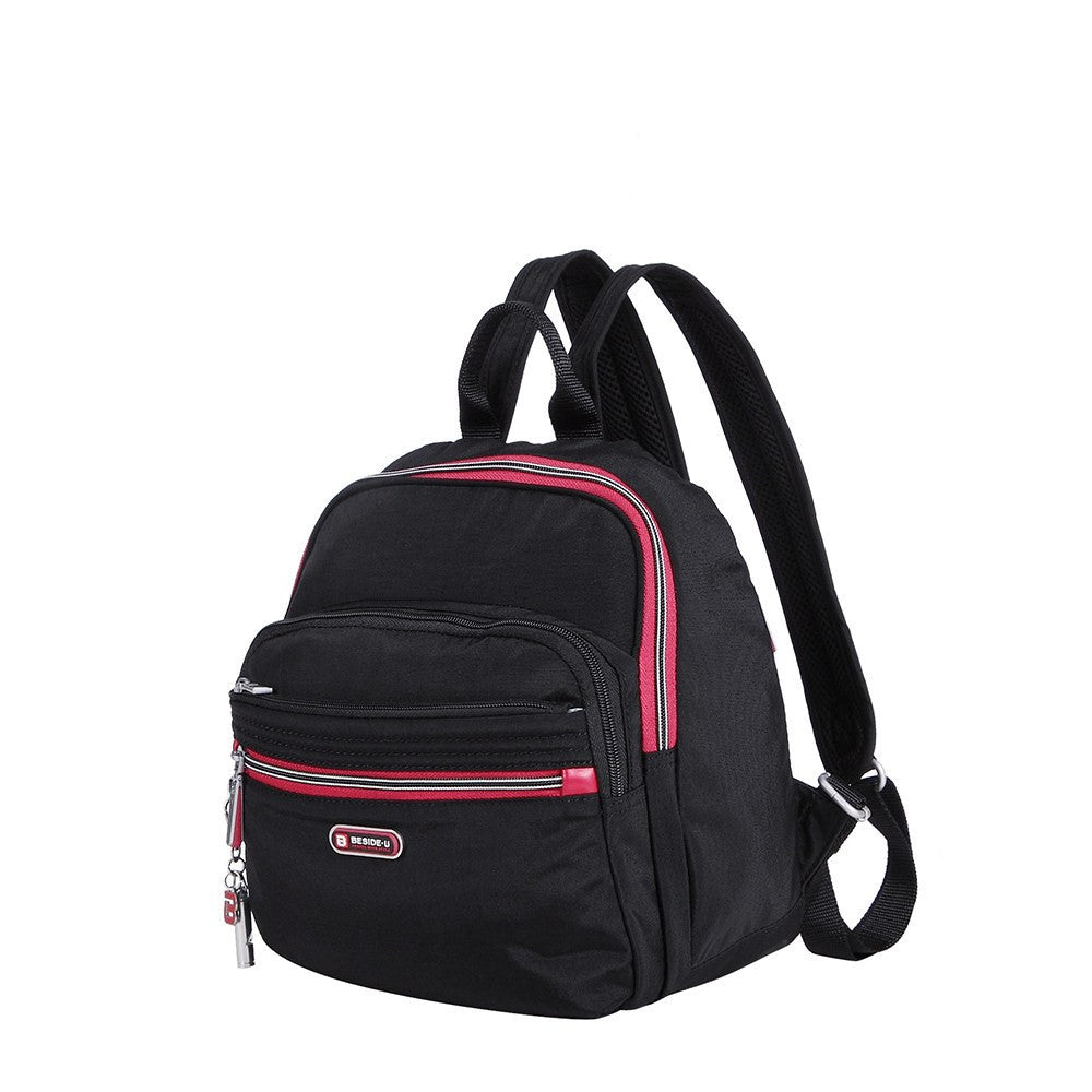 Backpack - Majorca Two-Tone Leisure Travel Backpack Angled [Black And Dark Red]