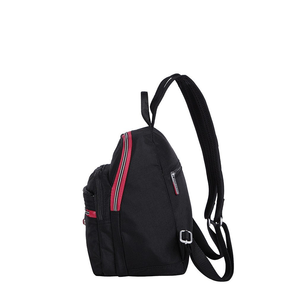 Backpack - Majorca Two-Tone Leisure Travel Backpack Side [Black And Dark Red]