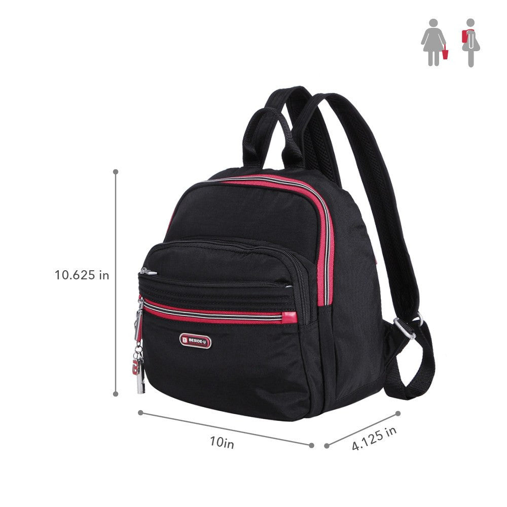 Backpack - Majorca Two-Tone Leisure Travel Backpack Size [Black And Dark Red]