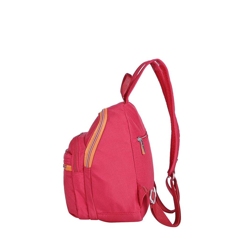 Backpack - Majorca Two-Tone Leisure Travel Backpack Side [Heart Red]