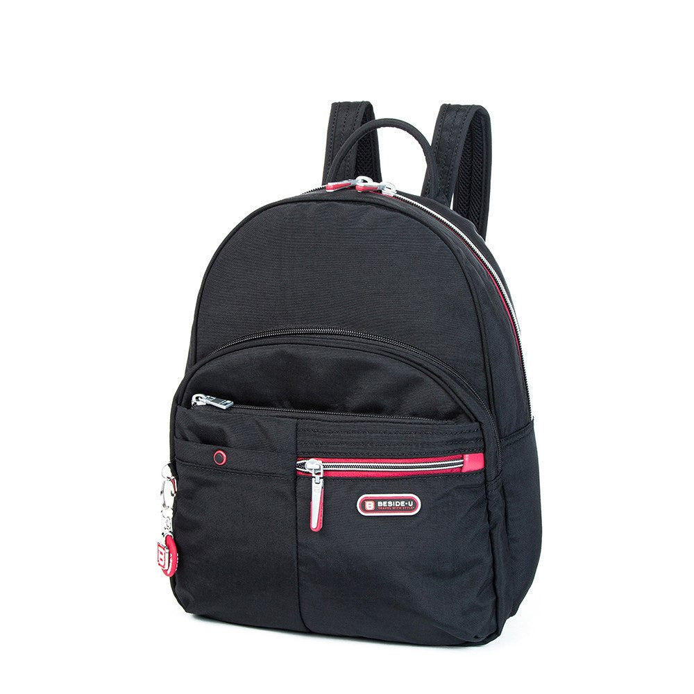 Backpack - Versailles Two-Tone Casual Backpack Angled [Black And Dark Red]