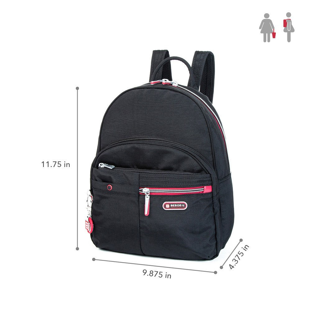 Backpack - Versailles Two-Tone Casual Backpack Size [Black And Dark Red]