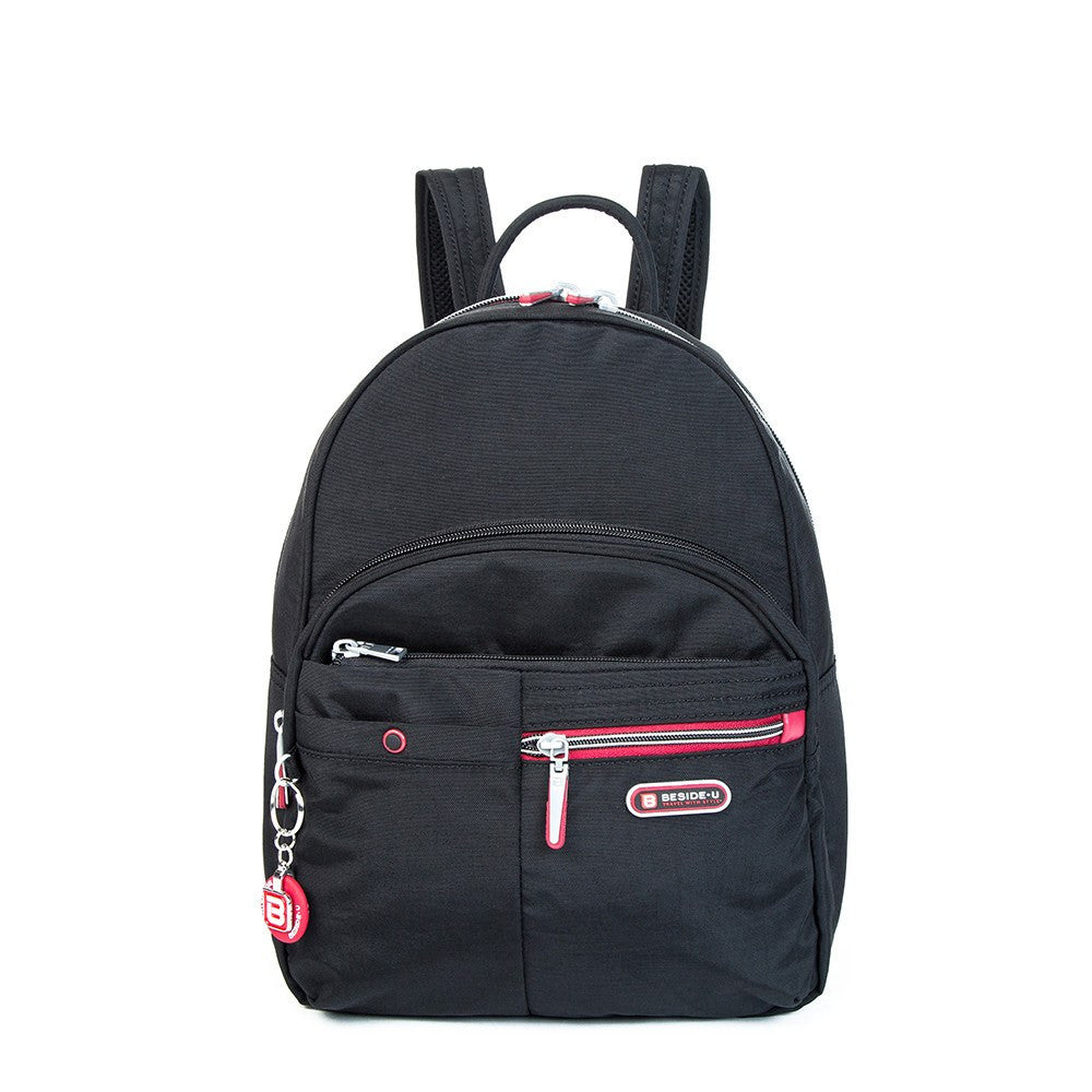 Backpack - Versailles Two-Tone Casual Backpack Front [Black And Dark Red]