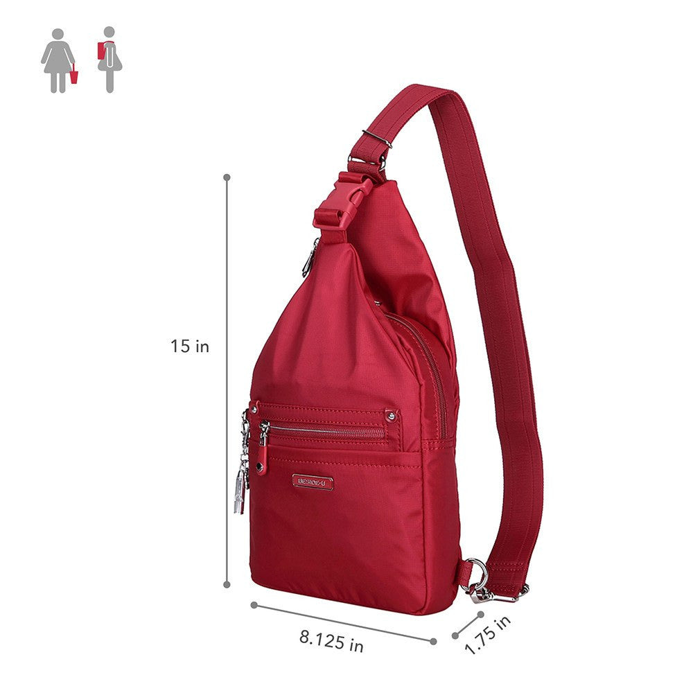 Crossbody Bag - Azusa Leather Trimmed Crossbody Sling Bag Size [Jester Red]