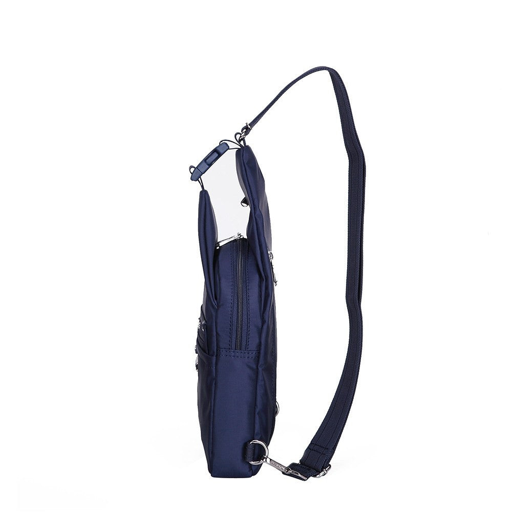 Crossbody Bag - Azusa Leather Trimmed Crossbody Sling Bag Side [Evening Blue]