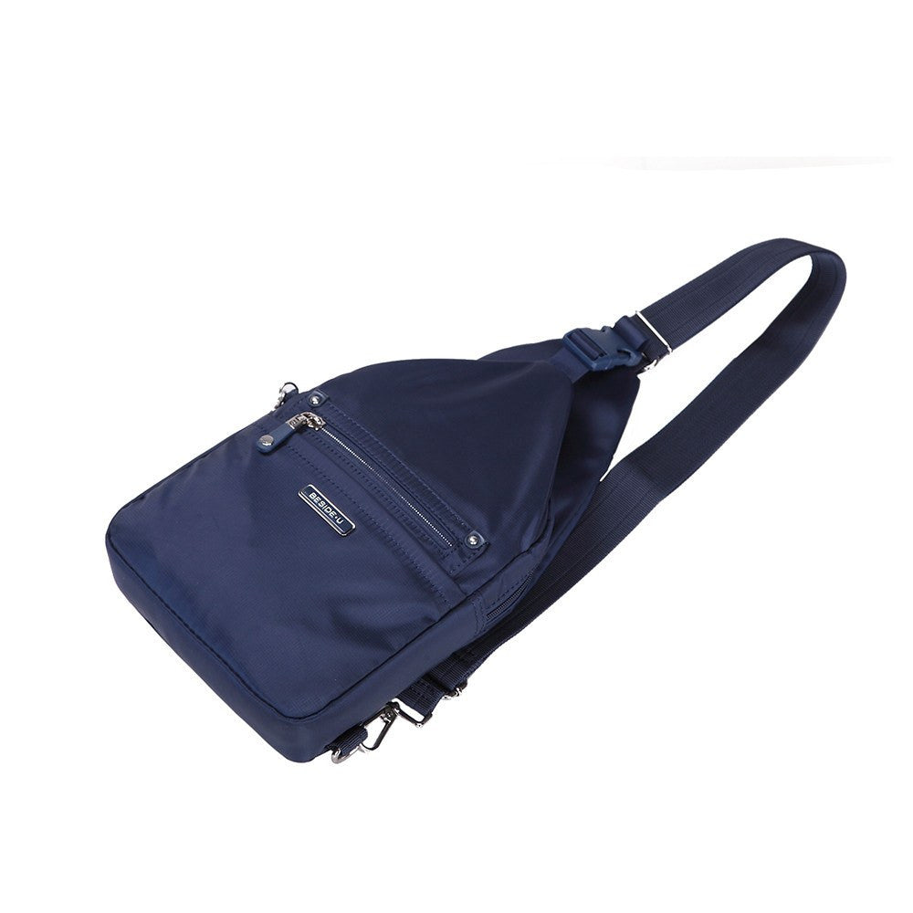 Crossbody Bag - Azusa Leather Trimmed Crossbody Sling Bag Lying Down [Evening Blue]