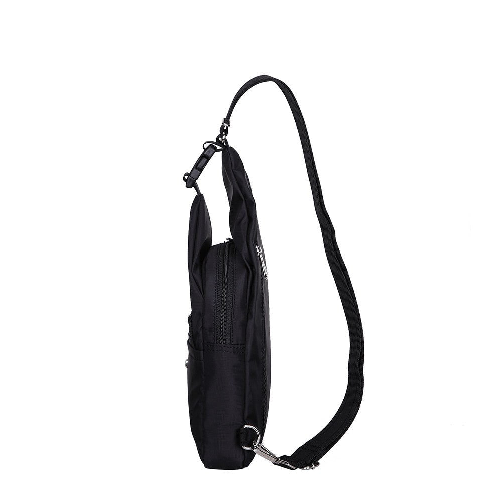 Crossbody Bag - Azusa Leather Trimmed Crossbody Sling Bag Side [Black]