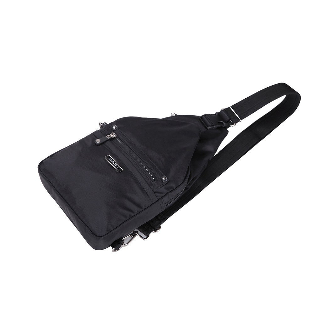 Crossbody Bag - Azusa Leather Trimmed Crossbody Sling Bag Lying Down [Black]