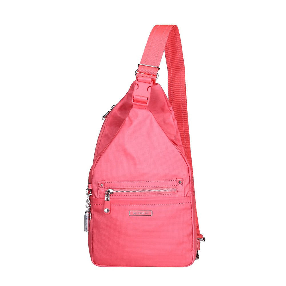 Crossbody Bag - Azusa Leather Trimmed Crossbody Sling Bag Front [Coral Pink]