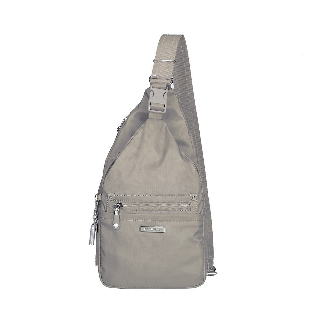 Crossbody Bag - Azusa Leather Trimmed Crossbody Sling Bag Front [Moon Grey]