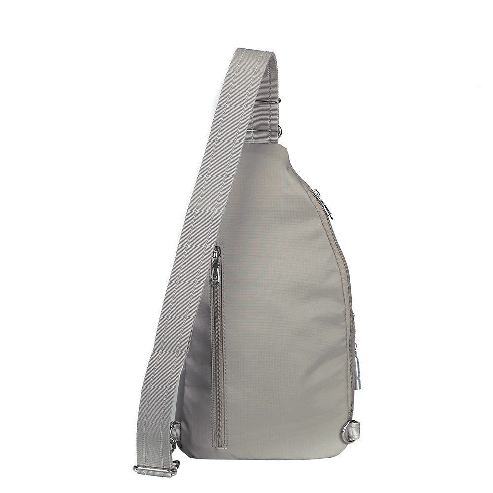 Crossbody Bag - Azusa Leather Trimmed Crossbody Sling Bag Back [Moon Grey]