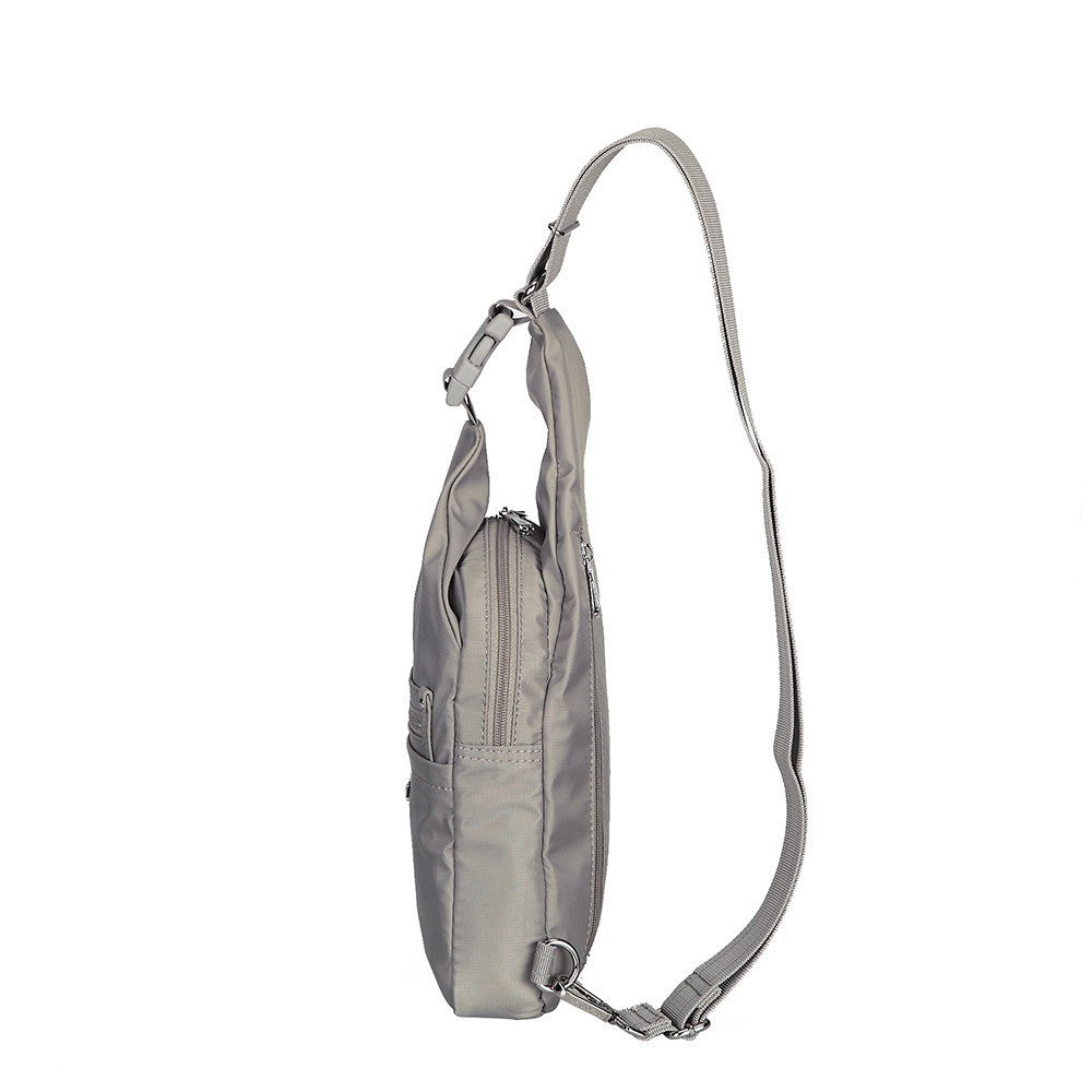 Crossbody Bag - Azusa Leather Trimmed Crossbody Sling Bag Side [Moon Grey]