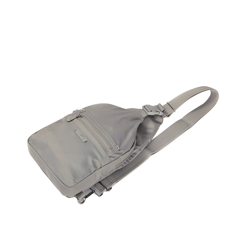 Crossbody Bag - Azusa Leather Trimmed Crossbody Sling Bag Lying Down [Moon Grey]