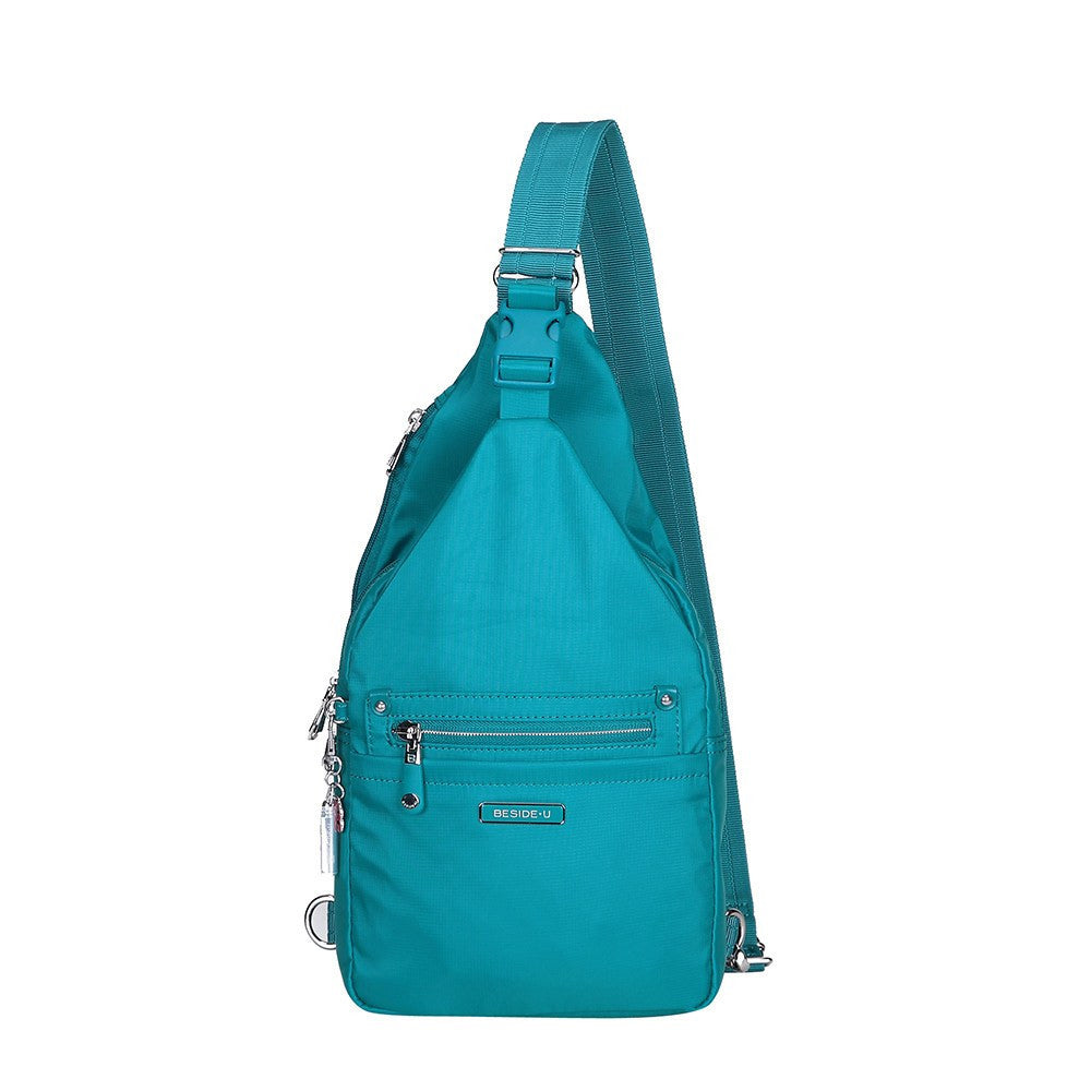 Crossbody Bag - Azusa Leather Trimmed Crossbody Sling Bag Front [Ocean Blue]