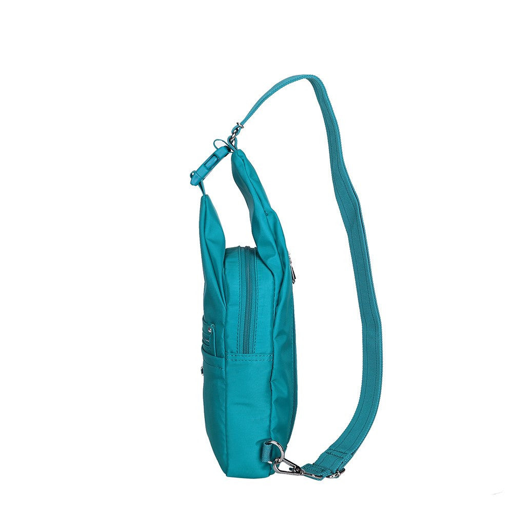 Crossbody Bag - Azusa Leather Trimmed Crossbody Sling Bag Side [Ocean Blue]
