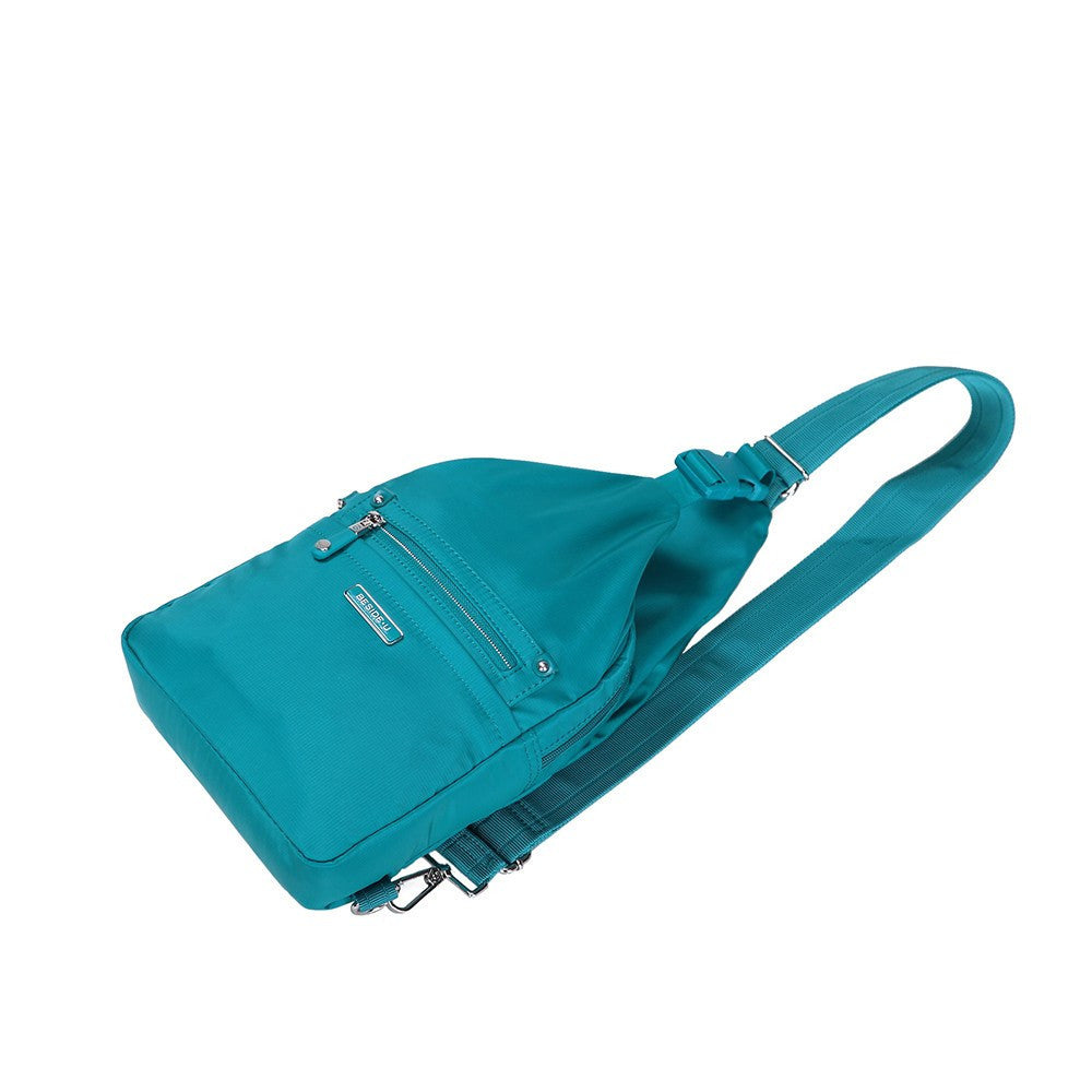 Crossbody Bag - Azusa Leather Trimmed Crossbody Sling Bag Lying Down [Ocean Blue]