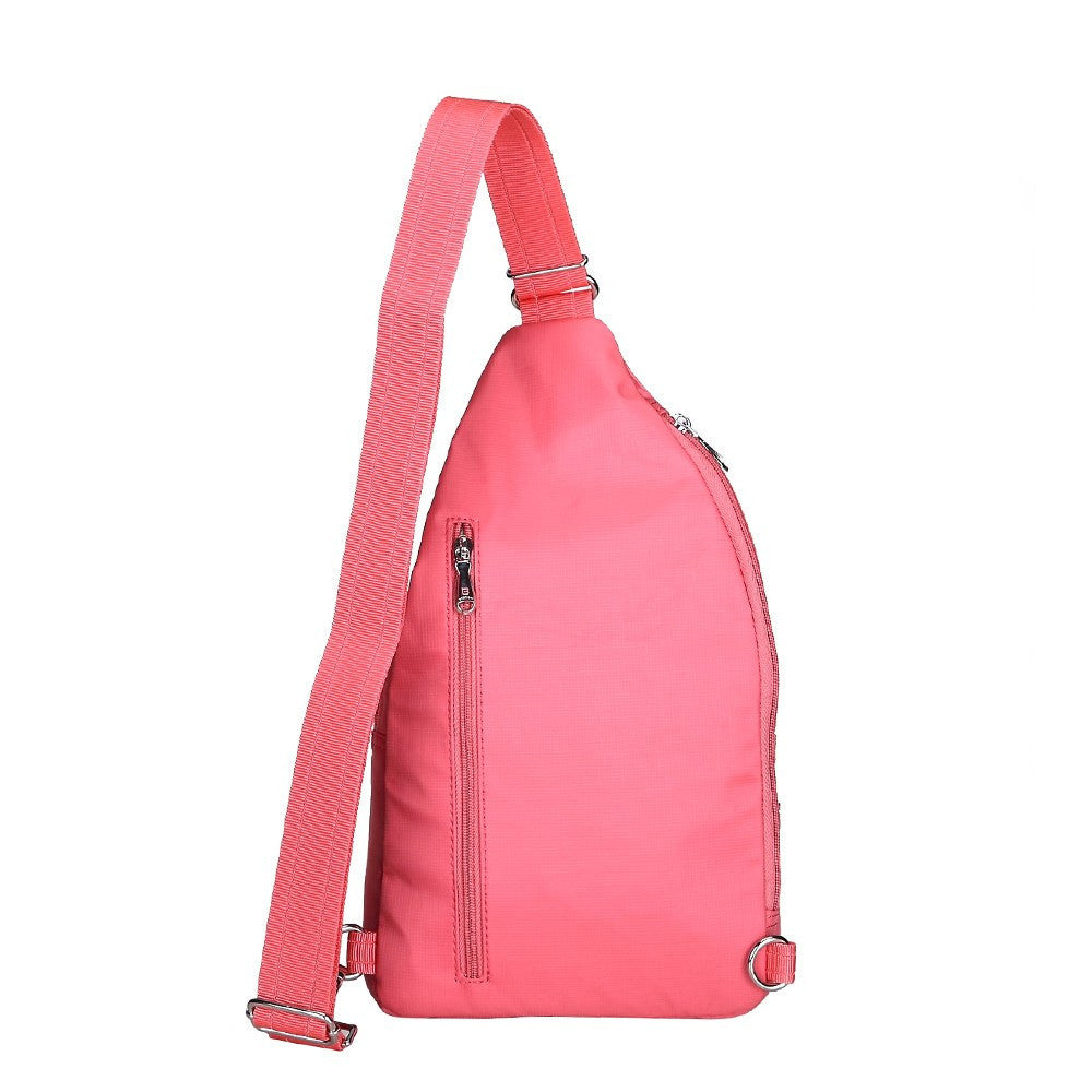Crossbody Bag - Azusa Leather Trimmed Crossbody Sling Bag Back [Coral Pink]