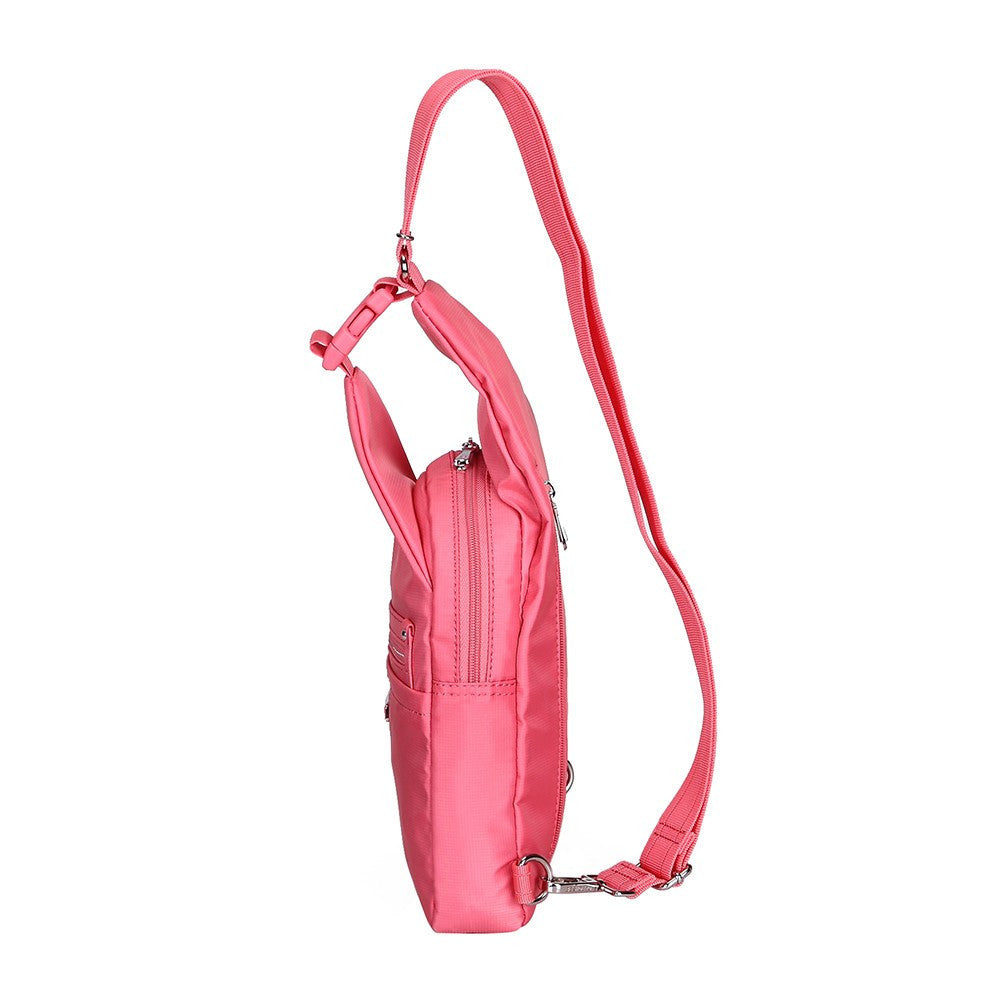 Crossbody Bag - Azusa Leather Trimmed Crossbody Sling Bag Side [Coral Pink]