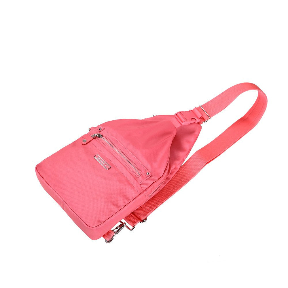 Crossbody Bag - Azusa Leather Trimmed Crossbody Sling Bag Lying Down [Coral Pink]