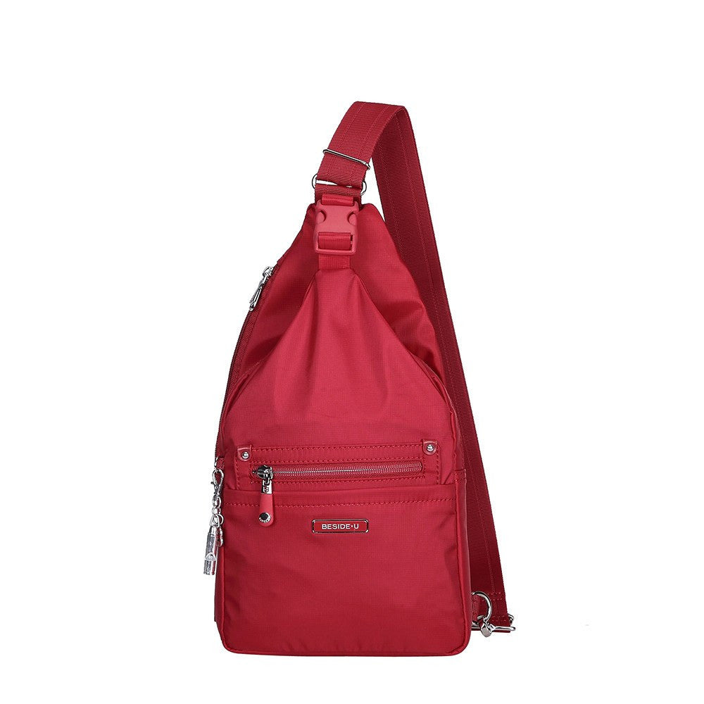Crossbody Bag - Azusa Leather Trimmed Crossbody Sling Bag Front [Jester Red]