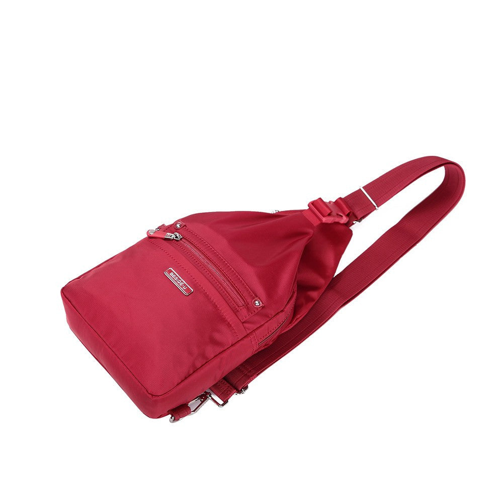 Crossbody Bag - Azusa Leather Trimmed Crossbody Sling Bag Lying Down [Jester Red]