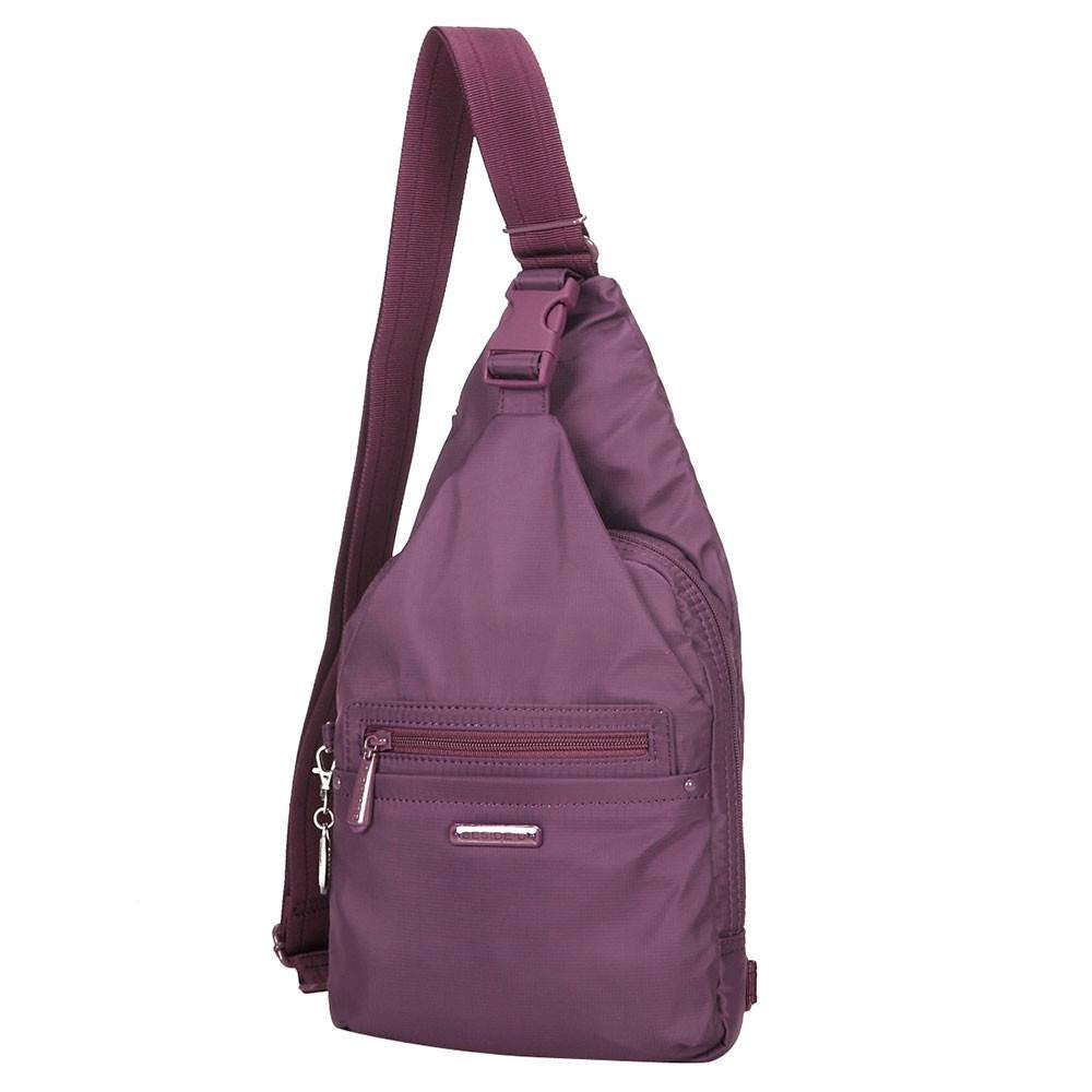 Crossbody Bag - Azusa RFID Pocket Crossbody Sling Bag Angled [Wineberry Purple]
