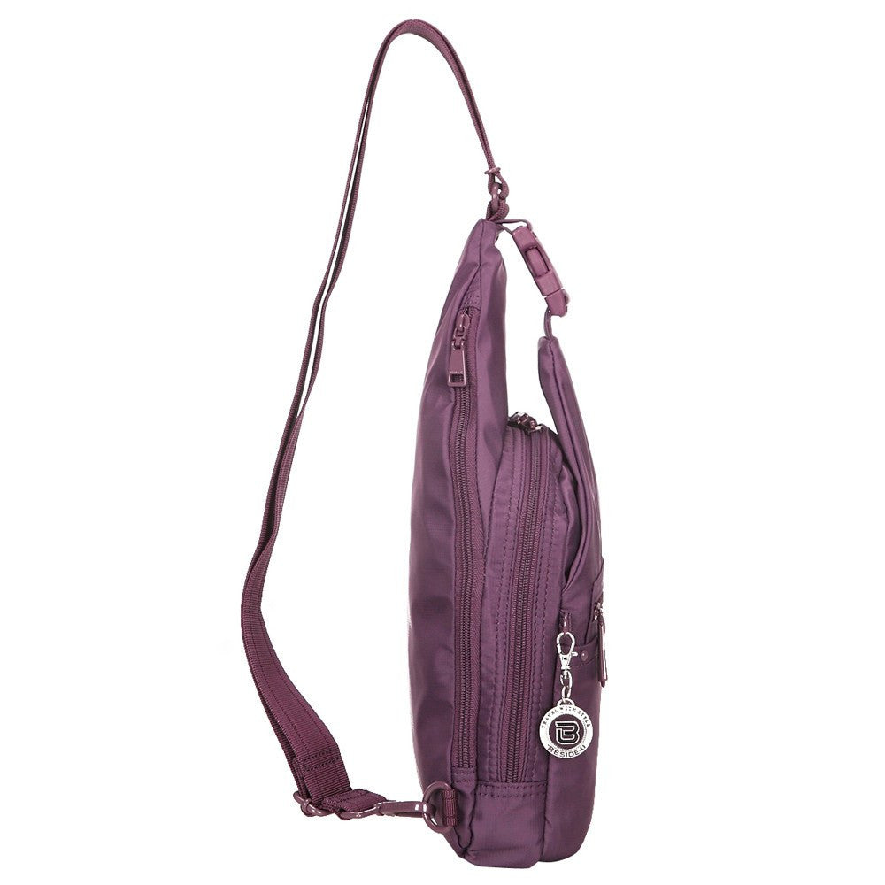 Crossbody Bag - Azusa RFID Pocket Crossbody Sling Bag Side [Wineberry Purple]