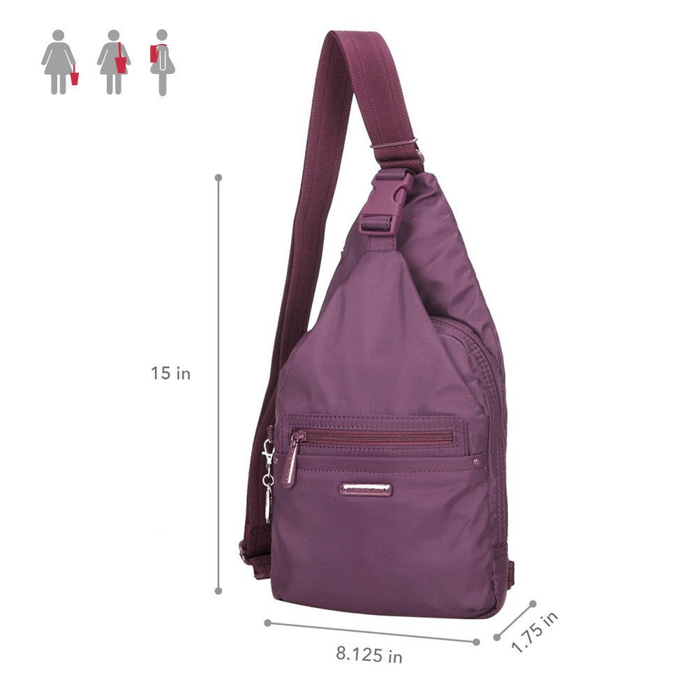 Crossbody Bag - Azusa RFID Pocket Crossbody Sling Bag Size [Wineberry Purple]