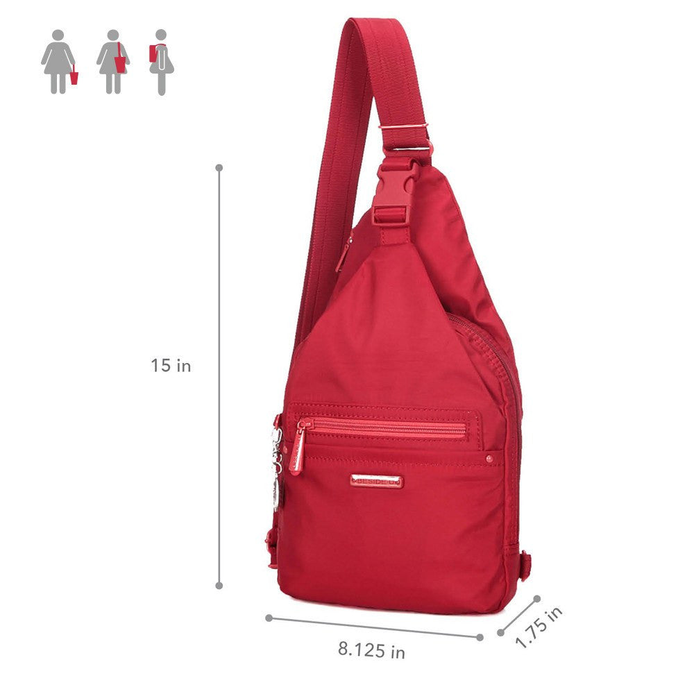 Crossbody Bag - Azusa RFID Pocket Crossbody Sling Bag Size [Jester Red]