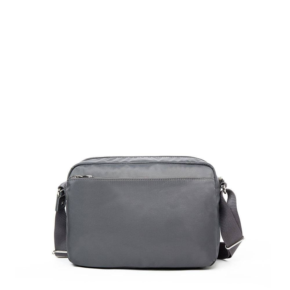 Crossbody Bag - Baker Leather Trimmed Medium Crossbody Bag With Round Dangle Back [Kitten Grey]
