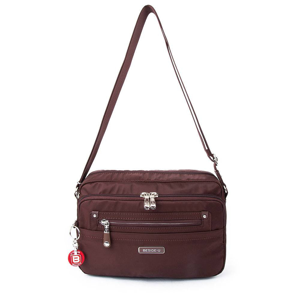 Crossbody Bag - Baker Leather Trimmed Medium Crossbody Bag With Round Dangle Front [Bitter Brown]