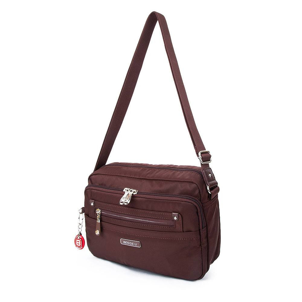 Crossbody Bag - Baker Leather Trimmed Medium Crossbody Bag With Round Dangle Angled [Bitter Brown]