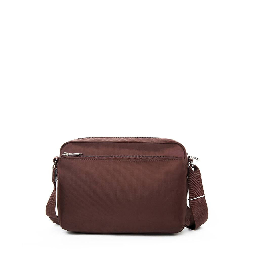 Crossbody Bag - Baker Leather Trimmed Medium Crossbody Bag With Round Dangle Back [Bitter Brown]