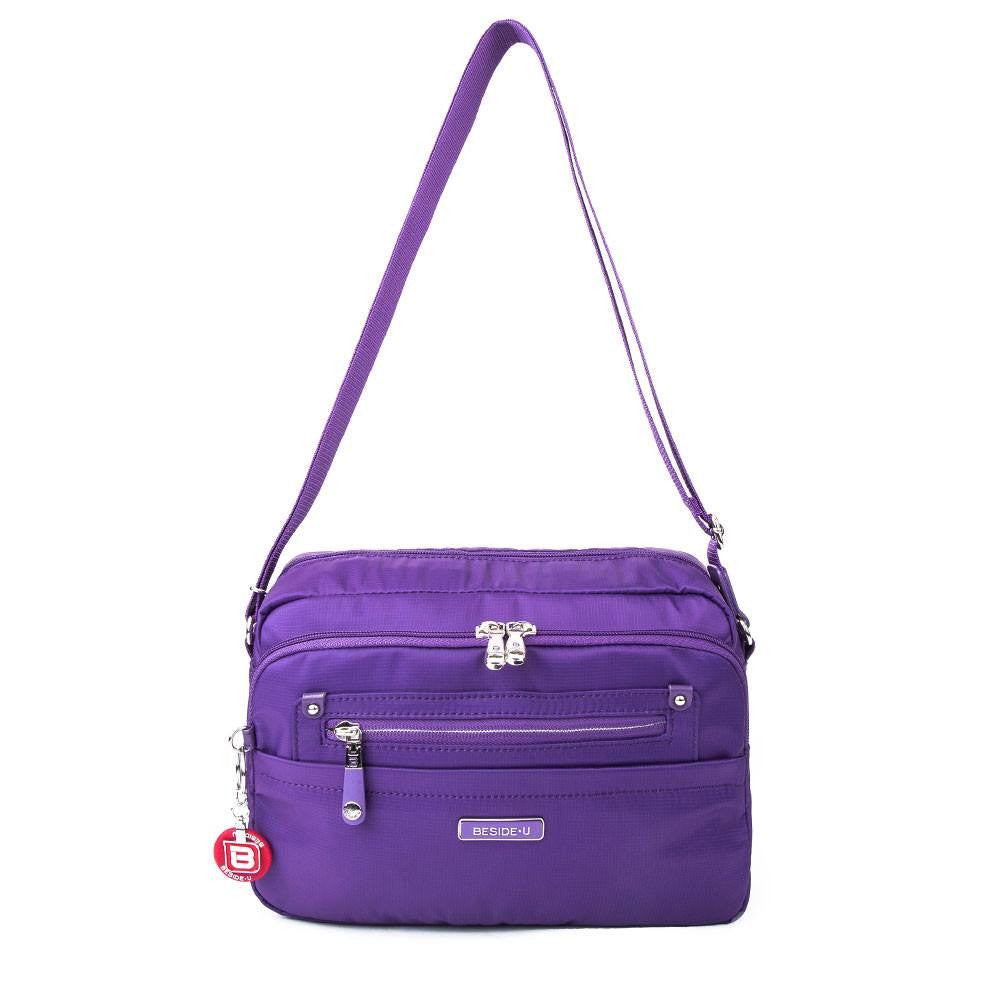 Crossbody Bag - Baker Leather Trimmed Medium Crossbody Bag With Round Dangle Front [Majesty Purple]