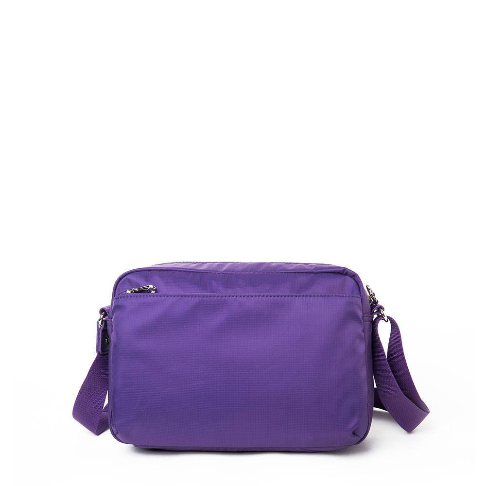 Crossbody Bag - Baker Leather Trimmed Medium Crossbody Bag With Round Dangle Back [Majesty Purple]