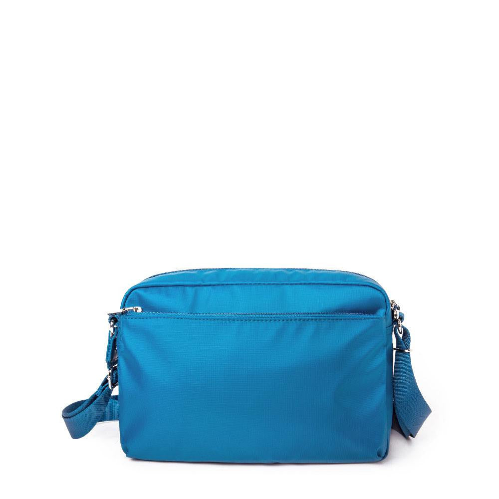 Crossbody Bag - Baker Leather Trimmed Medium Crossbody Bag With Round Dangle Back [Sapphire Blue]