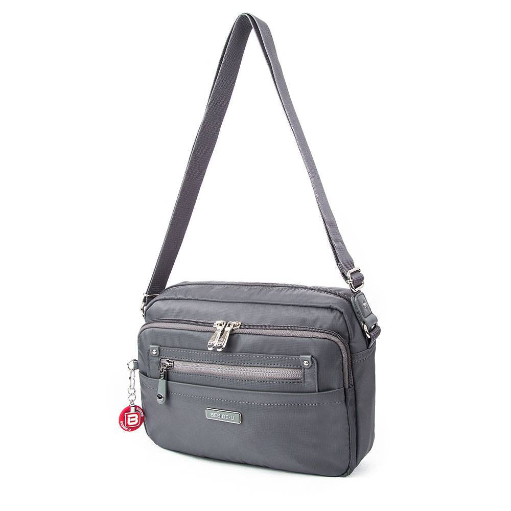Crossbody Bag - Baker Leather Trimmed Medium Crossbody Bag With Round Dangle Front [Kitten Grey]