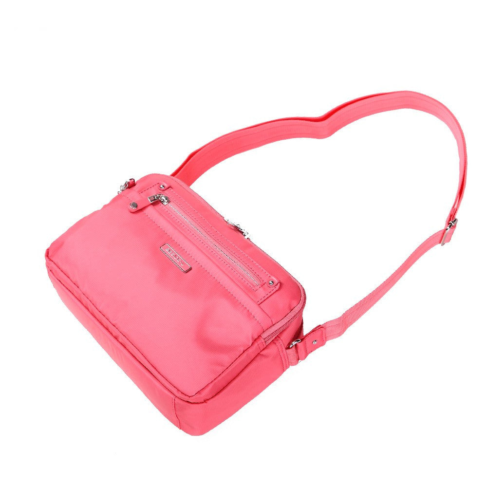 Crossbody Bag - Baker Leather Trimmed Medium Crossbody Bag With Whistle Dangle Lying Down [Coral Pink]