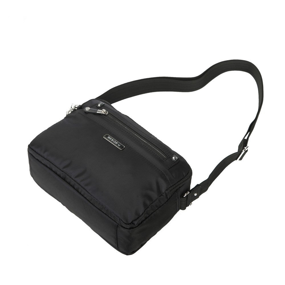 Crossbody Bag - Baker Leather Trimmed Medium Crossbody Bag With Whistle Dangle Lying Down [Black]