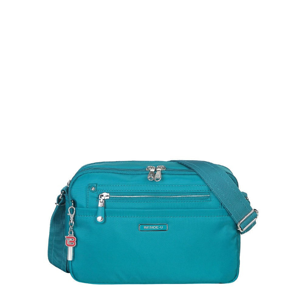 Crossbody Bag - Baker Leather Trimmed Medium Crossbody Bag With Whistle Dangle Front [Ocean Blue]