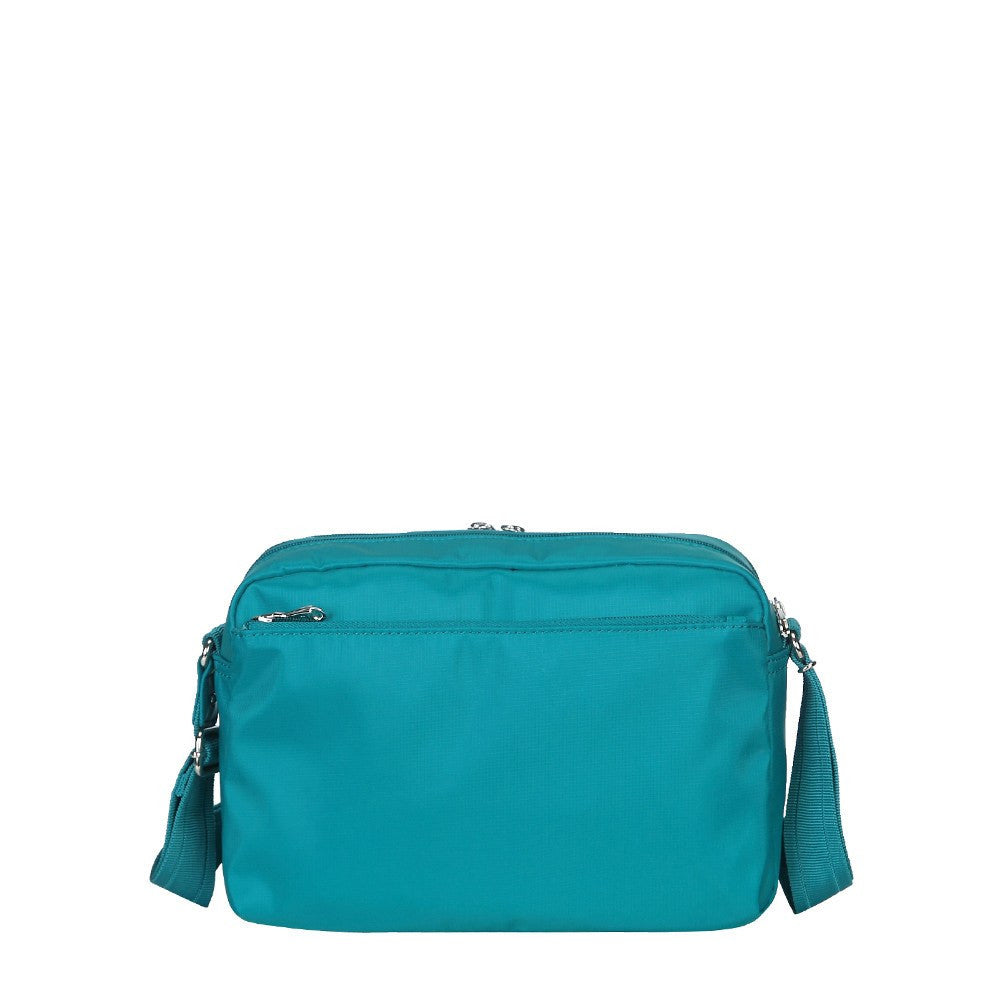 Crossbody Bag - Baker Leather Trimmed Medium Crossbody Bag With Whistle Dangle Back [Ocean Blue]