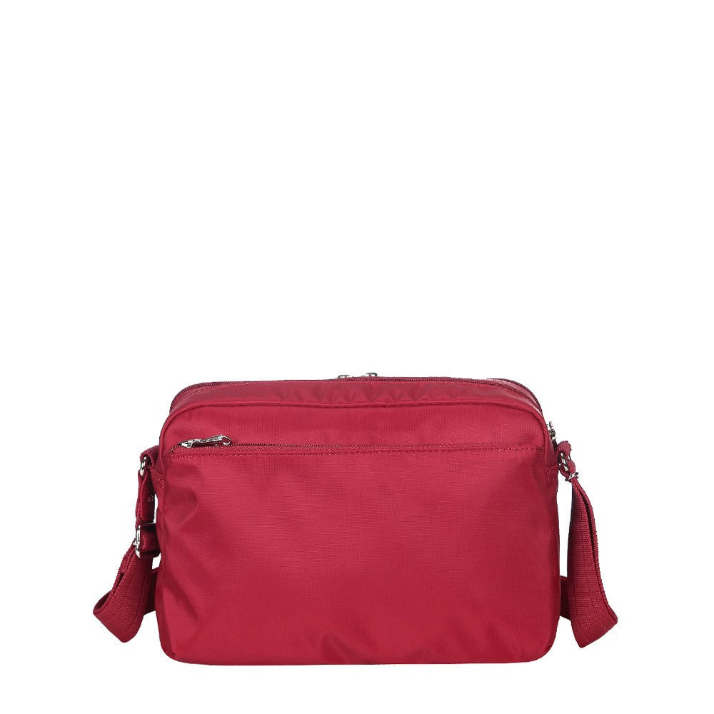 Crossbody Bag - Baker Leather Trimmed Medium Crossbody Bag With Whistle Dangle Back [Jester Red]