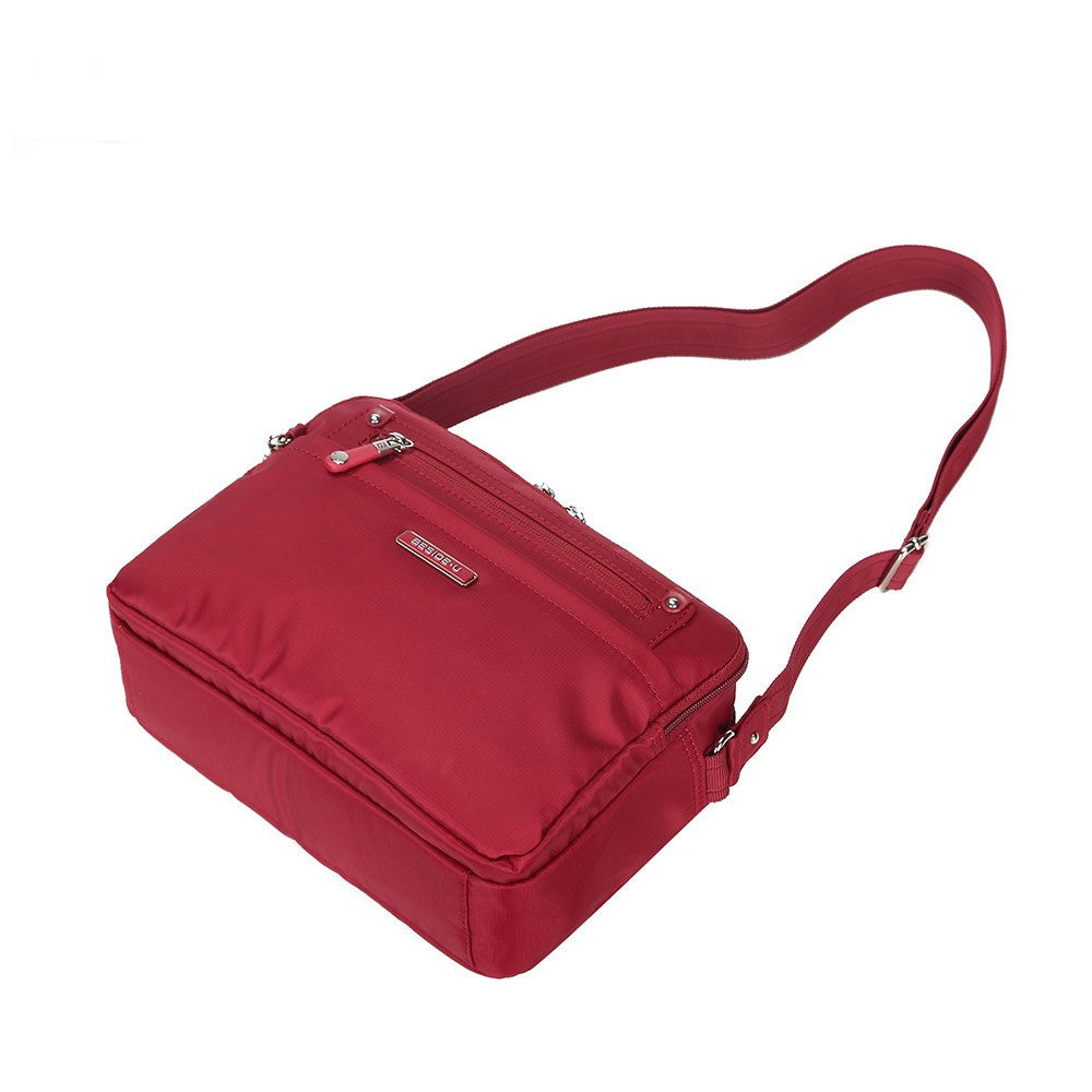 Crossbody Bag - Baker Leather Trimmed Medium Crossbody Bag With Whistle Dangle Lying Down [Jester Red]